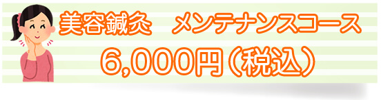美容鍼灸 メンテナンスコース6000円(税別)